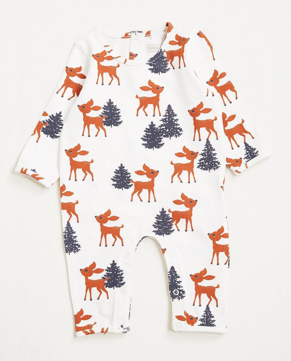 Schlafanzug Hirschprint - aus elastischer Biobaumwolle - Newborn